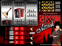 Russian Attack is a 3 reel, 3 payline slot once again from Top Game software.This slots game is based on the extremely exciting RUSSIAN MAFIA theme. The games graphics and color match with its name.