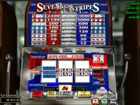 Sevens and Stripes is a wonderful Real Time Gaming Progressive Jackpot game slots game. It has 3 reels and 1 payline with a three coin max bet per spin.